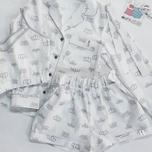 """Paradise"" шорты серые короны на белом фоне"