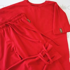 Прямые брюки с лентами красного цвета