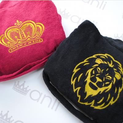 Мужской махровый халат с вышивкой льва