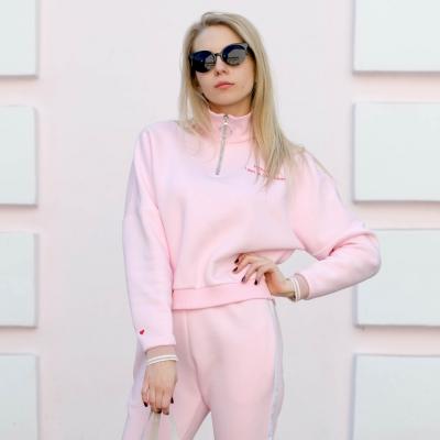 """Розовый свитшот с воротником-стойкой на молнии """"Houston i'm problem"""""""