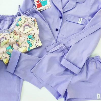 Брюки с карманами фиолетовый однотон