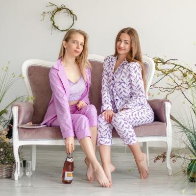 Пижамные брюки фиолетовые птички