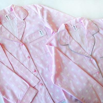 Пижамный жакет белые звезды на розовом фоне