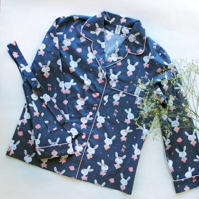 Пижамный жакет зайцы балерины на синем фоне