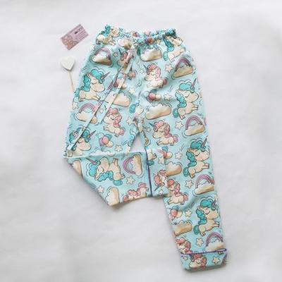 Пижамные брюки единороги на голубом фоне