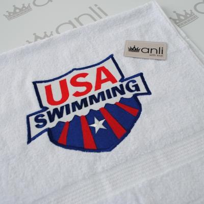 Махровое банное полотенце с вышивкой эмблемы USA swimming