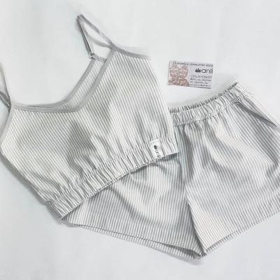 Домашние шорты с карманами серо-белая полоска