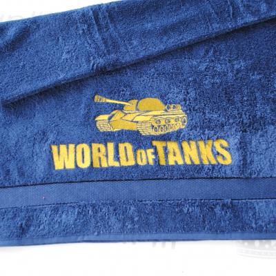 """Махровое банное полотенце с вышивкой """"World of Tanks"""""""
