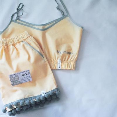 Домашние шорты с помпонами персиковый однотон