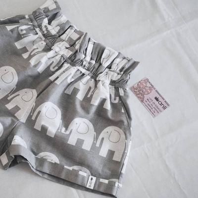 """""""Paradise"""" шорты слоны на сером фоне"""