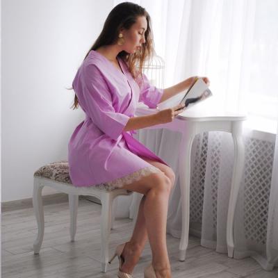 Сиреневое платье-халат без вышивки
