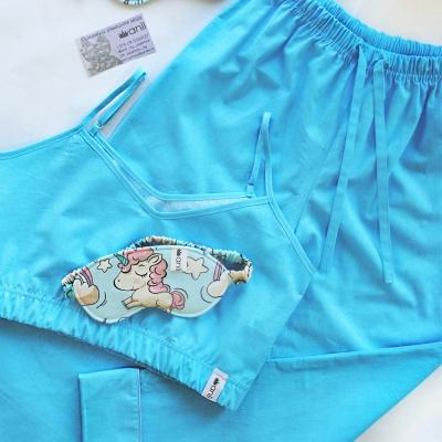 Пижамные брюки лазурный однотон