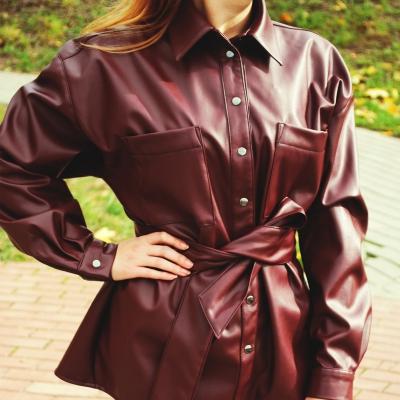 Рубашка из мягкой эко-кожи цвета марсала