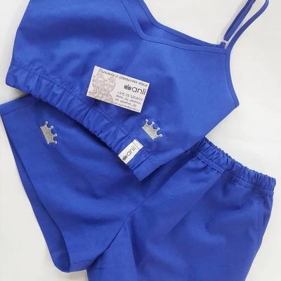 Домашние шорты с карманами синий однотон