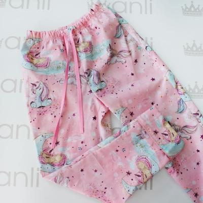 Пижамные брюки глиттерные единороги на розовом фоне