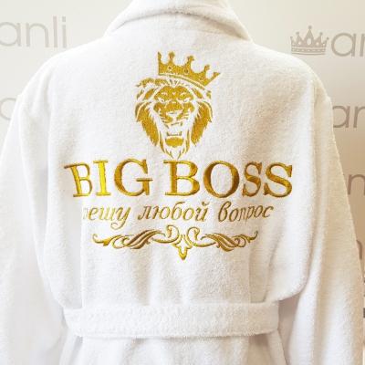"""Мужской махровый халат с вышивкой """"BIG BOSS решу любой вопрос"""""""