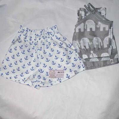 """""""Paradise"""" шорты синие якоря на белом фоне"""