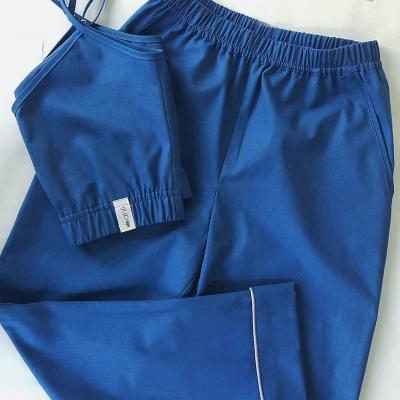 Брюки с карманами синий однотон