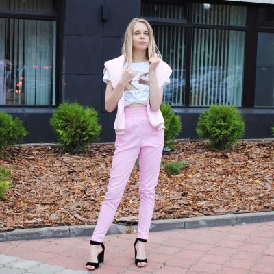 Розовые джеггинсы с высокой посадкой и карманами