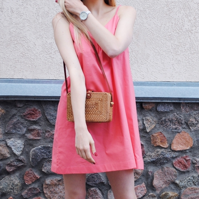 Мини платье-сарафан кораллового цвета