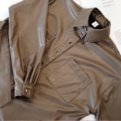 Рубашка из мягкой эко-кожи цвета капучино