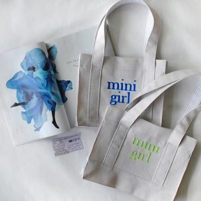 """Молочная """"Eco-friendly"""" mini-сумочка с синей вышивкой"""