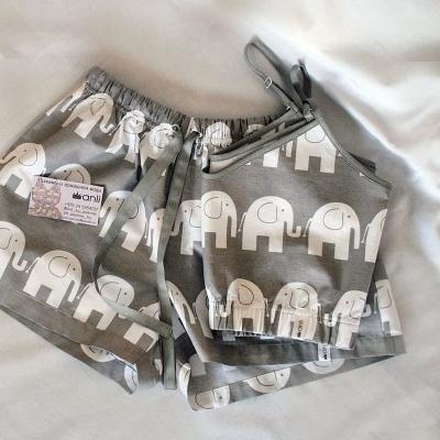 Пижамные шорты слоны на сером фоне