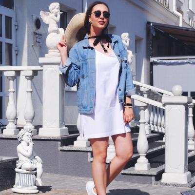 Мини платье-сарафан белого цвета