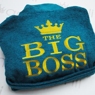 """Мужской махровый халат с вышивкой """"THE BIG BOSS"""""""