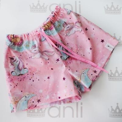 Пижамные шорты глиттерные единороги на розовом фоне