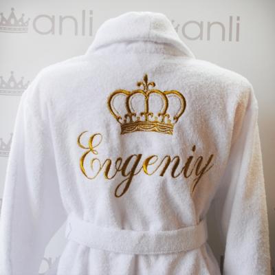 Мужской махровый халат с вышивкой короны и имени