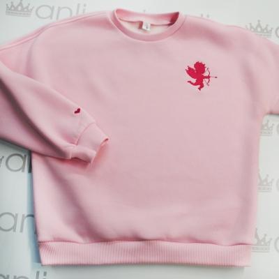 Розовый oversize свитшот с объемными рукавами с вышивкой ангелочка
