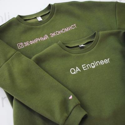 "Oversize свитшот с объемными рукавами ""QA Engineer"" цвета хаки"