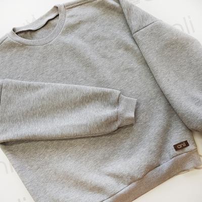 Серый oversize свитшот с объемными рукавами
