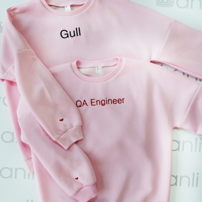 """Розовый oversize свитшот с объемными рукавами """"Gull"""""""