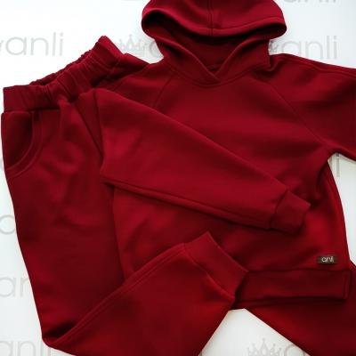 Оversize худи с капюшоном бордово-винного цвета