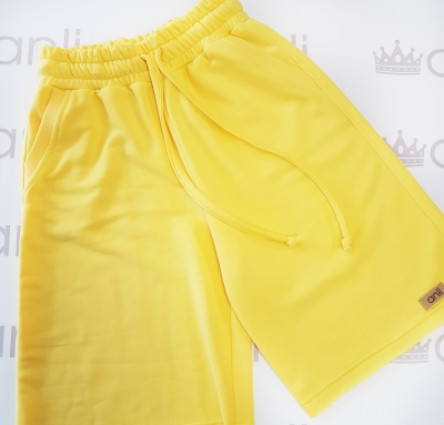 Шорты с карманами в стиле сафари солнечно-желтого цвета
