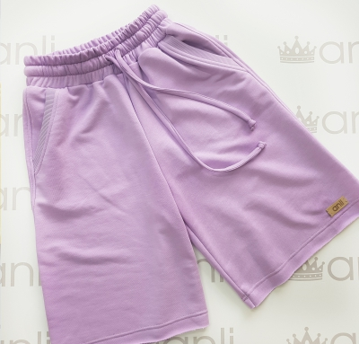 Лавандовые шорты с карманами в стиле сафари
