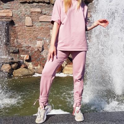 Прямые брюки с лентами пудрового цвета
