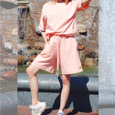 Удлиненная футболка оверсайз кроя персикового цвета
