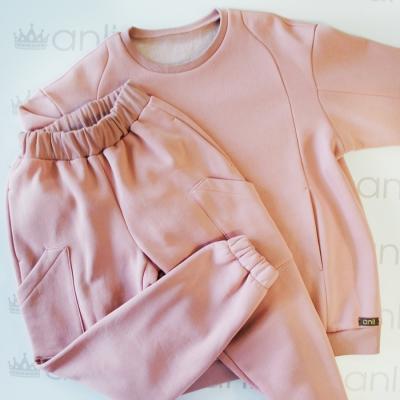 Оversize свитшот пудрового цвета с карманами в швах