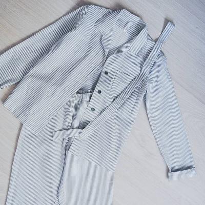Брюки с карманами серо-белая полоска